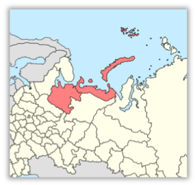 Map of Arkhangelsk Region highlighted in red