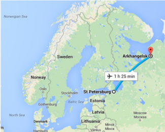 map showing flight time of 1 hour and 25 minutes from st petersberg