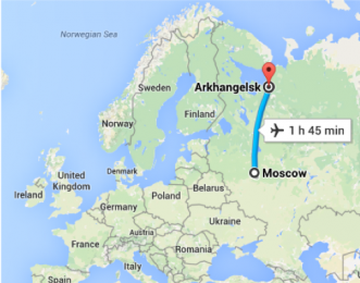 Map showing flight length of 1 hour and 45 minutes from Moscow